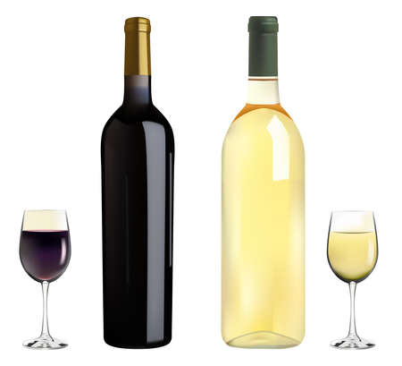 vector red and white wine bottles and glasses on white background