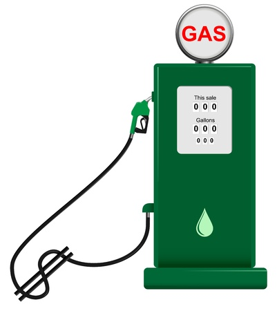 benzine: vector concept illustration of gas pump with hose shaped as dollar sign