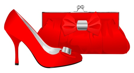 purse: vector realistic red shoe and purse on white background Illustration