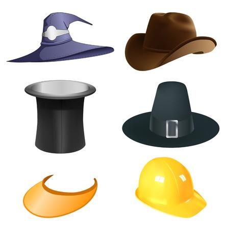 Set von sechs verschiedenen Hüte