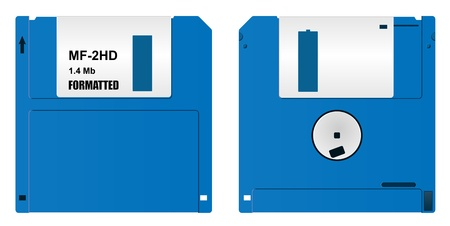 realistic floppy diskette, front and back  side, on white background Stock Vector - 10655066