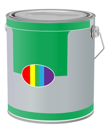 realistic paint can on white background Ilustrace