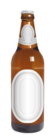 botella de cerveza realista vector con etiquetas en blanco