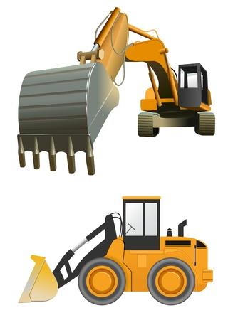 экскаватор: вектор строительные машины на белом фоне