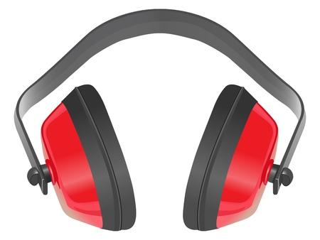 muffs: Vector paraorecchie isolatore rumore su sfondo bianco