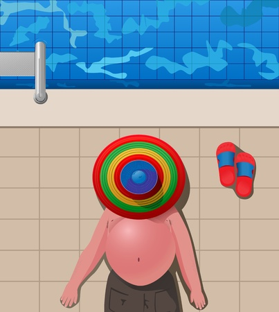 fat belly: illustration of fat man lying under the sombrero by the swimming pool Illustration