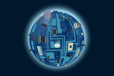 semiconductors: vector conceptual illustration of globe made of computer motherboard