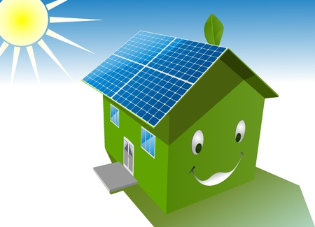 energy save: vector happy green house with solar system roof
