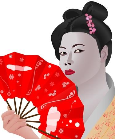 open fan: vector illustration of japanese girl holding fan