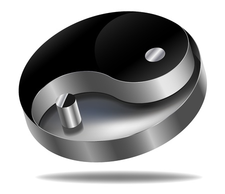 vector metallic yin yang symbol on white background Ilustrace