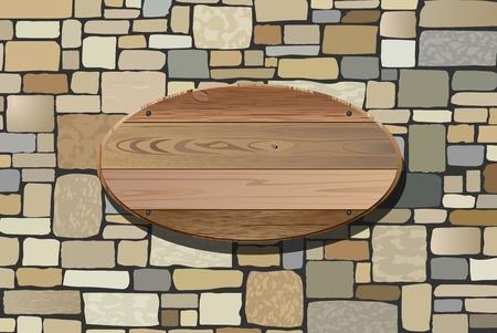 ilustración vectorial de la pared de piedra y tabla de madera para el texto