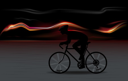 vector illustration of full speed bicycle rider silhouette with fiery background Stock Vector - 11663565