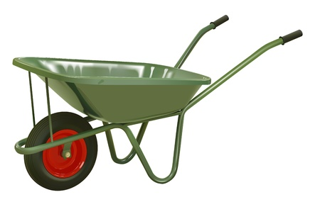 gardening tools: vector realistic green wheelbarrow on white background Illustration