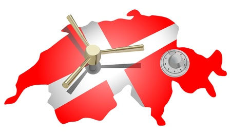 vector conceptual illustration of switzerland as safe  Vector