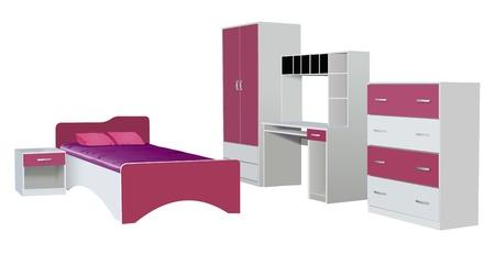 child bedroom: vector de muebles de la sala infantil aisladas sobre fondo blanco