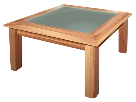 small table: vector realistic coffee table on white background
