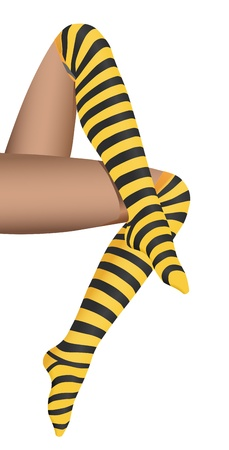 legs stockings: vector realistic woman legs with striped stocking on white background