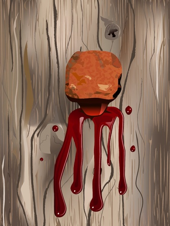 crucified: concept illustration of rusty nail on the wood with blood drips Illustration