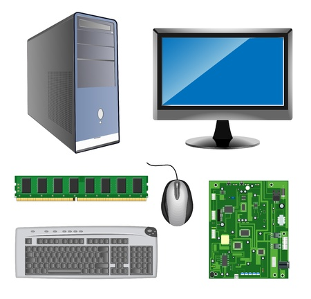 vector detailed computer hardware icons on white background Vector
