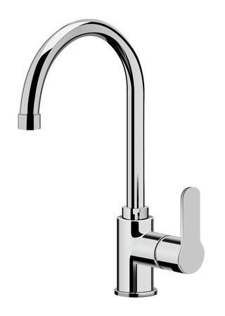 watery: vettore realistico rubinetto da cucina su sfondo bianco Vettoriali