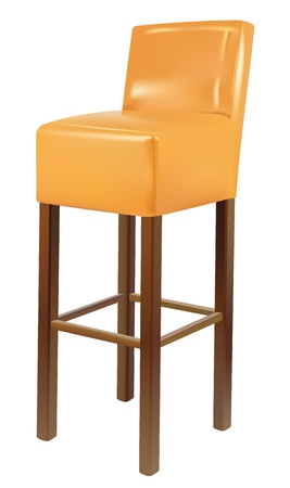 high chair: vector realistic bar chair on white background