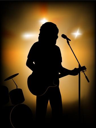 vector silhouet van de gitarist op het podium