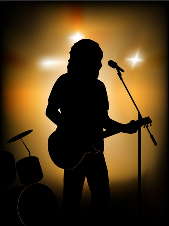 guitarist: vector silhouette of the guitar player on the stage Illustration