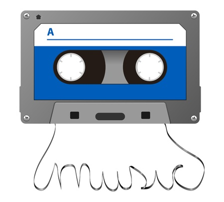 vector vintage adudio cassette with ribbon shaped in word music Illustration