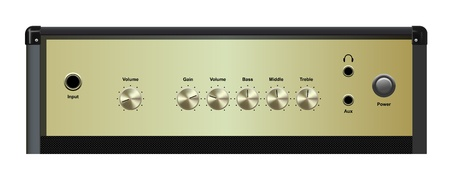 guitar amplifier: vector realistic amplifier interface on white background