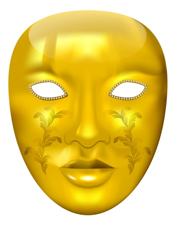 vector golden carnival mask on white background,   eps 10 file Stock Vector - 12492837