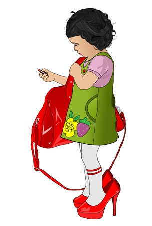 little girl with mothers shoes handbag and lipstick Illustration