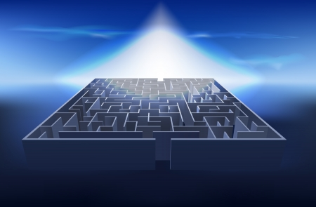concept illustration of light at the end of the maze