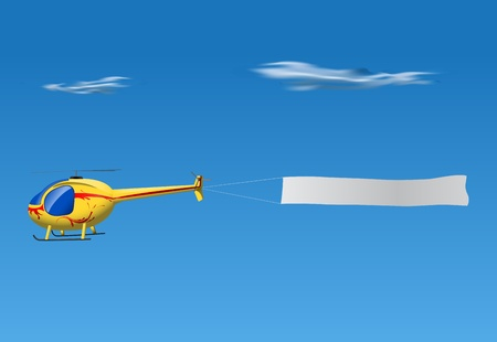helicopter: cartoon helicopter pulling empty banner on blue sky Illustration