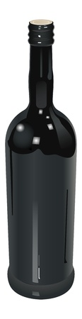 realistic bottle of red wine, transparency used Vector