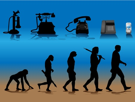 radiations: conceptual illustration comparing human and phone evolution Illustration