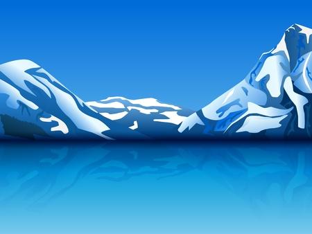 montañas nevadas: ilustración de montañas cubiertas de nieve con la reflexión en el agua, transparencia utilizada
