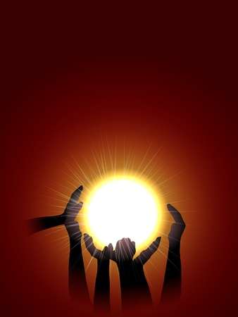 vector  conceptual illustration of hands silhouette holding sun Vector