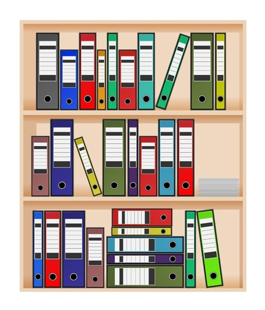 Ring binders in office shelf Vector