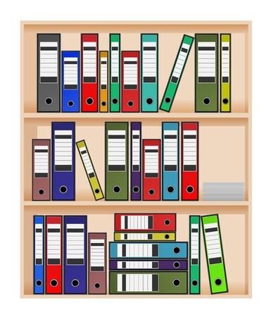 Ring binders in office shelf