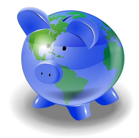 moneybox: conceptual illustration of earth globe shaped as moneybox  file, transparency and blends used Illustration