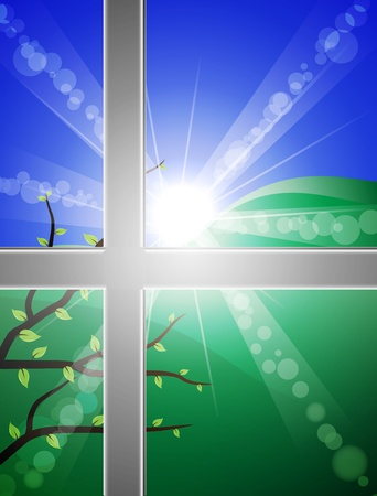 morning sunrise: view through at bright spring morning. transparency and blending used