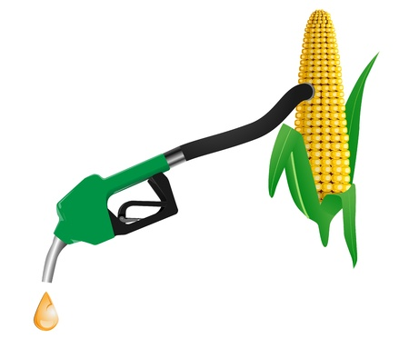 fillup: vector concept illustration of nozzle and hose using bio fuel from corn, eps8 file Illustration
