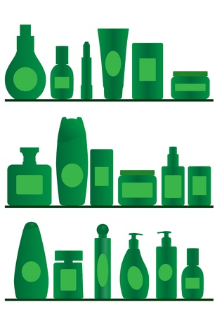 toiletries: vector accessories silhouettes on white background