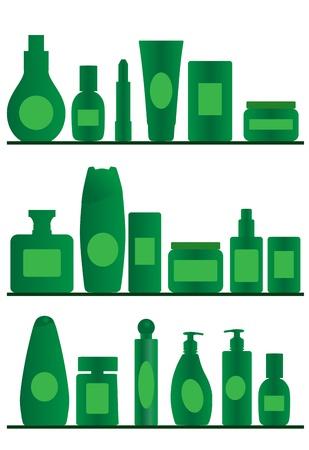 productos de aseo: vectoriales accesorios siluetas sobre fondo blanco
