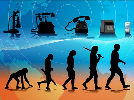 homo: conceptual illustration comparing human and phone evolution Illustration