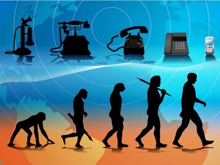 koncepcyjne ilustracji porównywanie człowieka i ewolucji telefonu