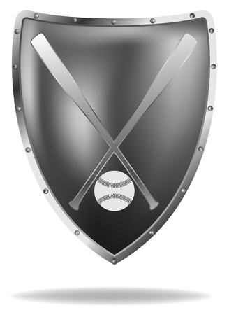 vector metal shield with baseball bats and ball, eps8 file, gradient mesh used  イラスト・ベクター素材