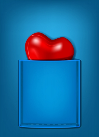 vector concept illustration of glossy heart in the pocket, eps10 file, transparency and gradient mesh used Vector