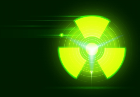 radioactive: vector bio-hazard symbol on dark green background, transparency and gradient mesh used Illustration