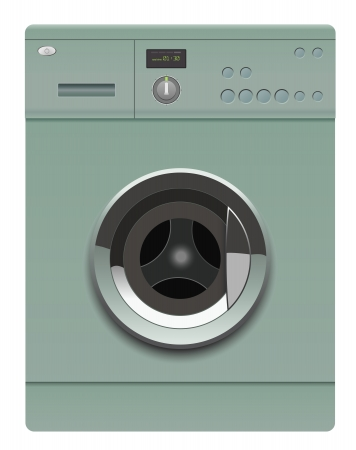 realistic washing machine on white background Stock Vector - 14723439
